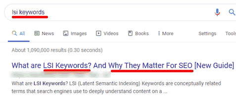 Screenshot of search for query: LSI Keywords