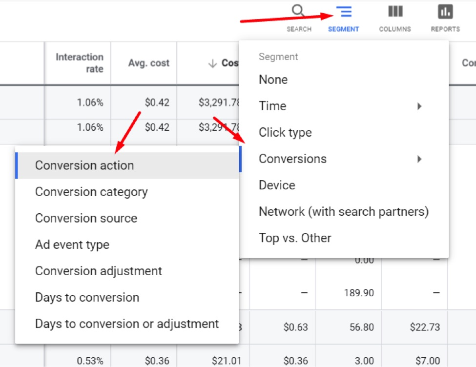 Filter by conversion action in Google Ads if you have multiple actions.