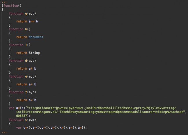 Obfuscated malicious code injected into JS files
