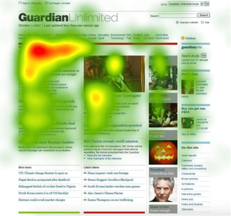 Heatmaps show visitor behavior on a website. This screenshot is from Crazy Egg.