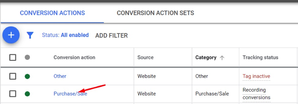 Click on the Ads' conversion action that uses the tracking tag.
