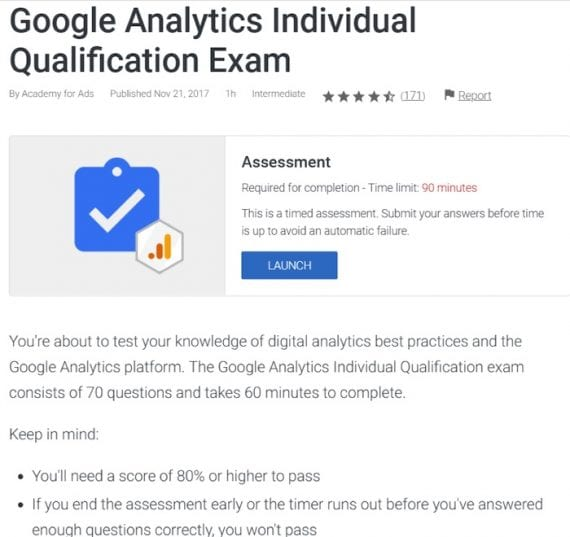Google Analytics Individual Qualification is a certification to be recognized as an expert. There is no cost to getting certified; the process is entirely online.
