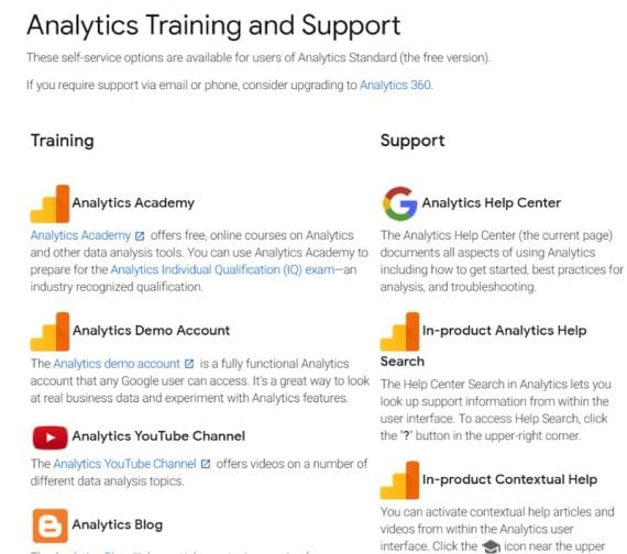 Google's Analytics Training and Support page summarizes all learning and support resources.