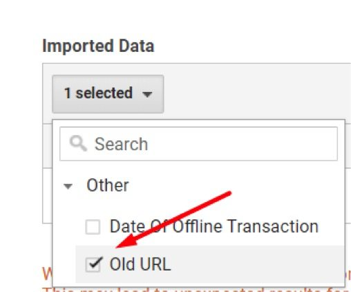 "Select Old URL — or whatever you named the Custom Dimension — for the ""Imported Data."""