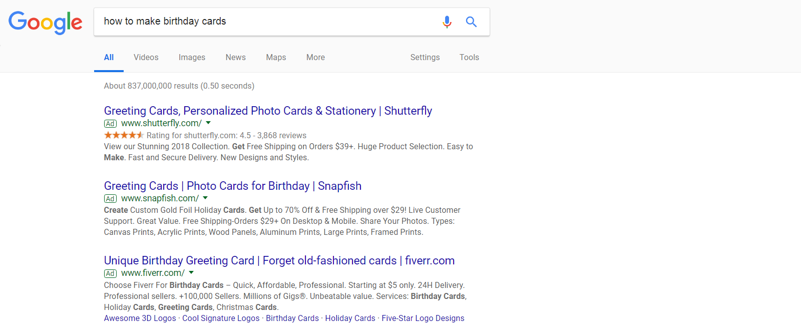 SERP screenshot how to make birthday cards ads