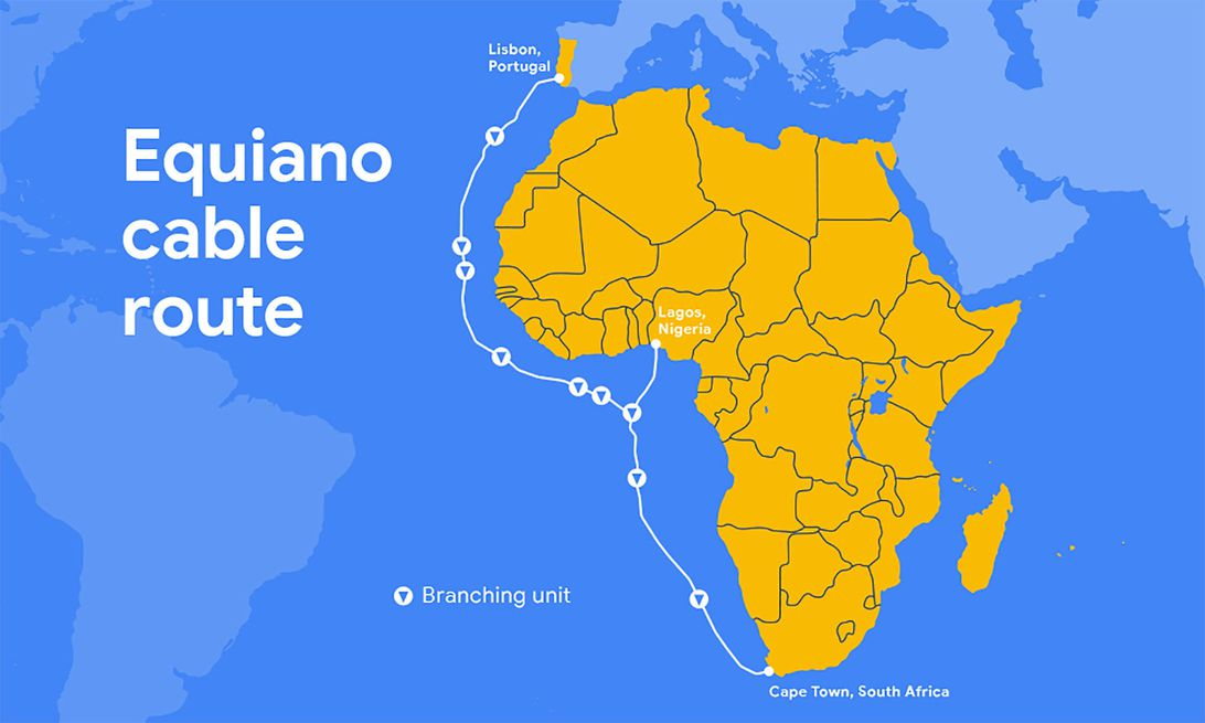 Google's Equiano subsea cable will connect Portugal, South Africa, Nigeria and likely other nations.
