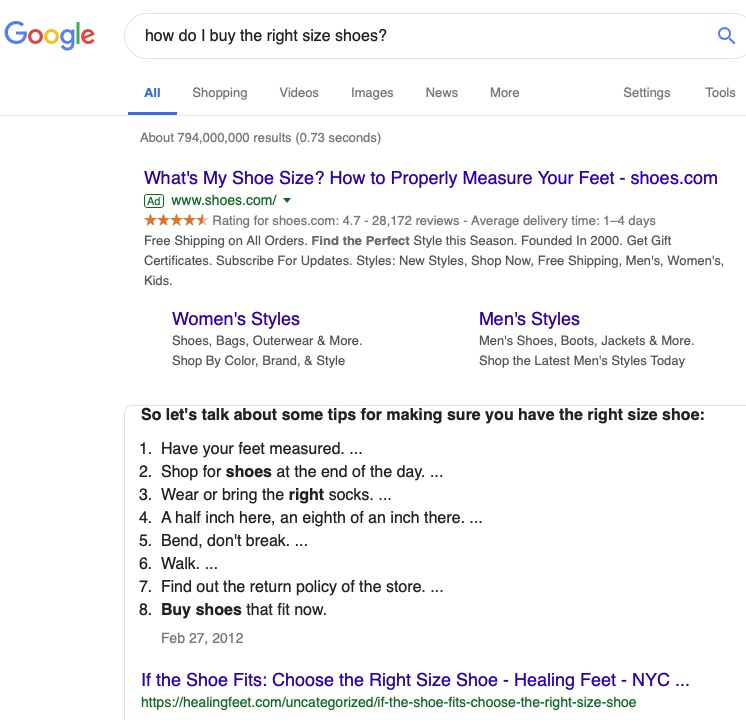 """Addressing a question — such as """"how do I buy the right shoe size?"""" — increases the chances of earning Google's coveted Answer Boxes in position zero."""