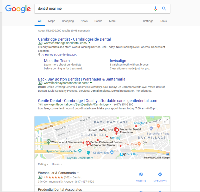SERP with a Local Search Ad and four pack