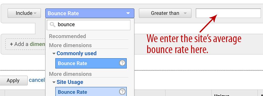 GA bounce rate reporting