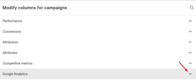 "Click on the ""Google Analytics"" arrow."