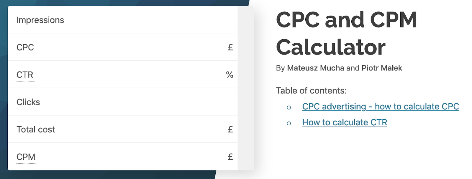 CPC and CPM calculator