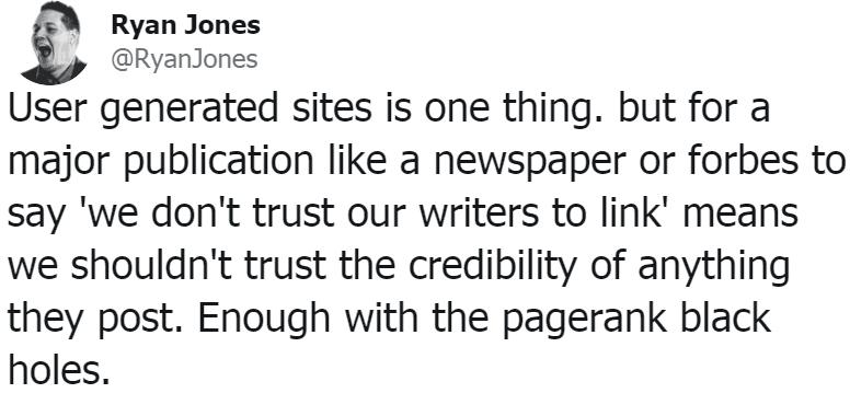 screenshot of ryan jones tweet about nofollow links