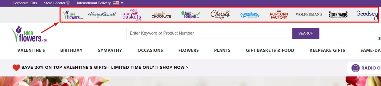1-800-Flowers.com was one of the original merchants to incorporate multiple websites under one umbrella website in 2009.