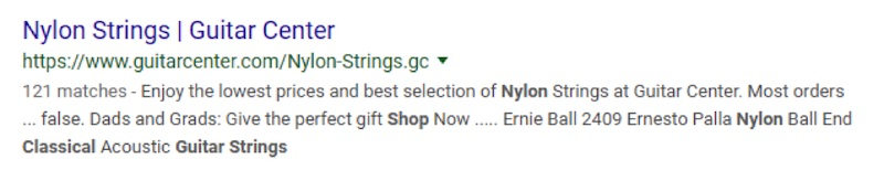 This listing from Guitar Center uses the category name for the title tag. The meta description is truncated, making it unclear where searchers would land.