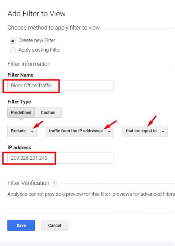"""Select Exclude  traffic from the IP address  that are equal to. Then enter your IP address and click """"Save."""""""