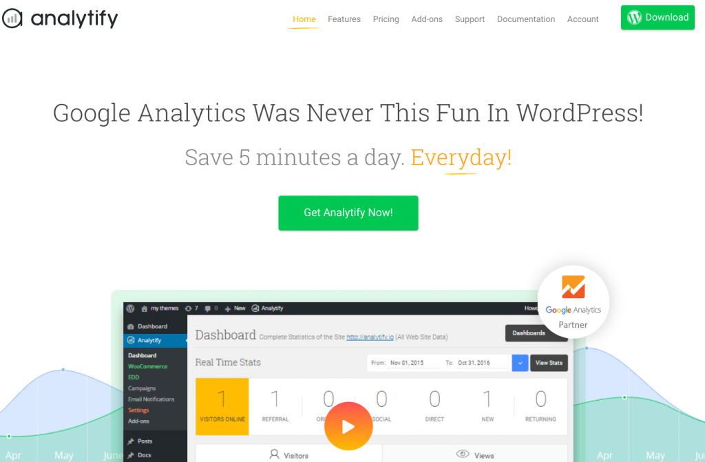 Analytify -best free google analytics plugin for WordPress