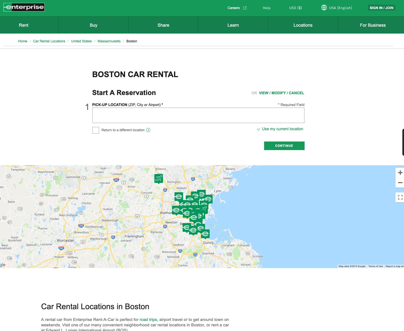 enterprise boston car rental