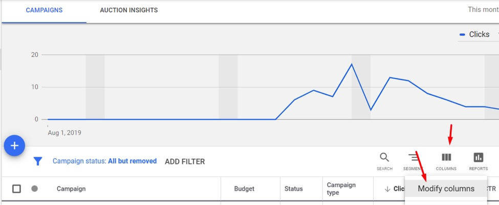 In Google Ads, go to reports for Campaigns, Ad Groups, or Keywords and modify the columns.