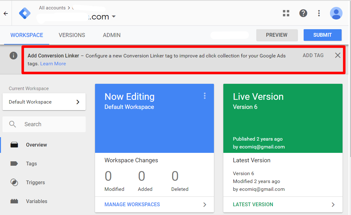 Google notifies Tag Manager users for new tags.