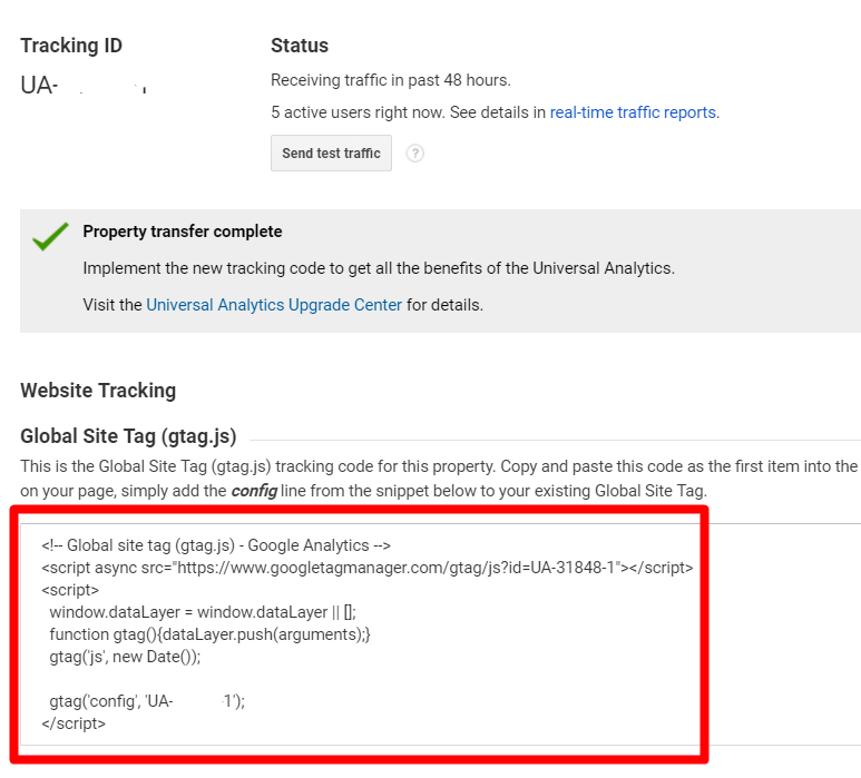 Google provides the site tag code in the Admin settings.