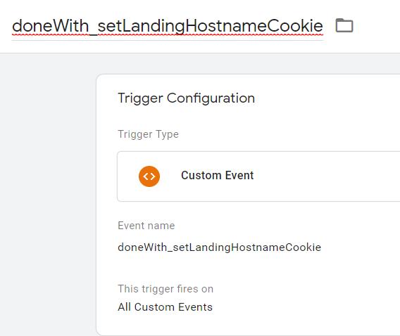 The setup for a Custom Events trigger.