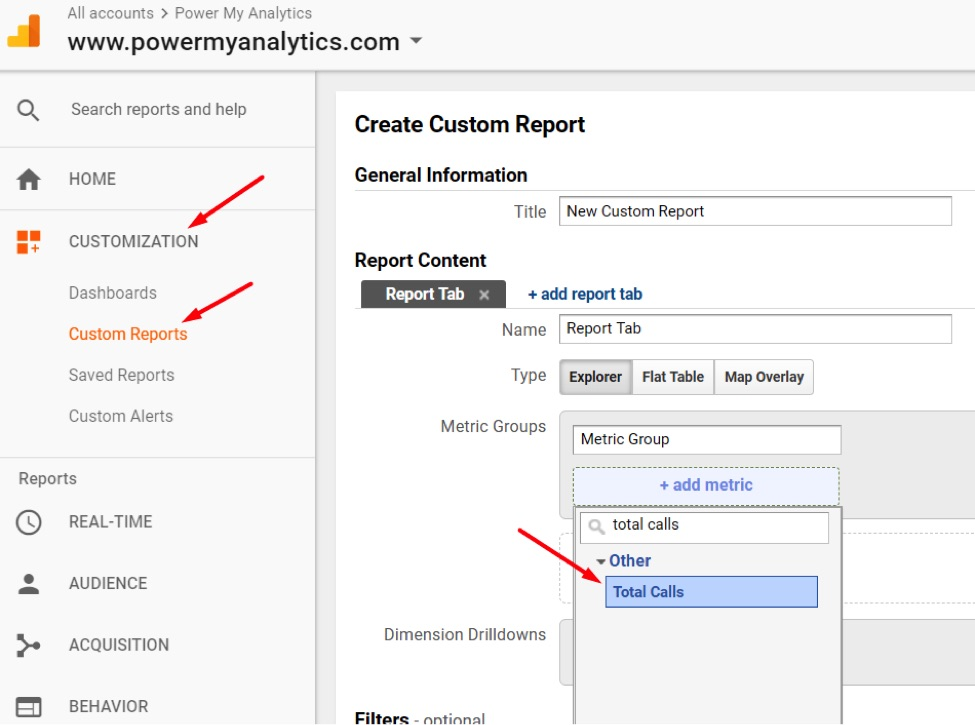 Go to Customization  Custom Reports  New Custom Report to create a custom report with your new Calculated Metric.